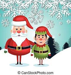 card santa elf landscape snowflake design