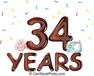 card., saudação, aniversário, 34, anos, celebração