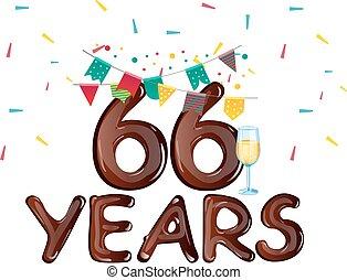 card., saudação, aniversário, anos, 66, celebração