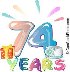 card., saudação, aniversário, anos, 74, celebração