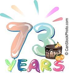 card., saudação, anos, aniversário, 73, celebração