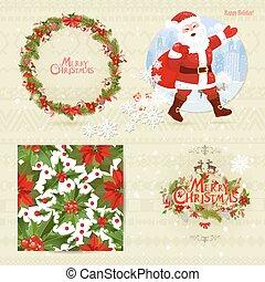 card., seamless, collezione, flowers., struttura, allegro, invito