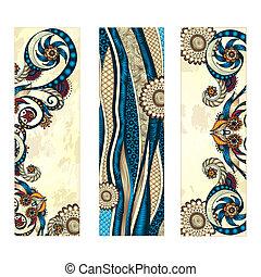 card., seria, ułożyć, etniczny, ręka, wektor, projektować, szablon, próbka, pociągnięty, wizerunek, abstrakcyjny, karta, set.