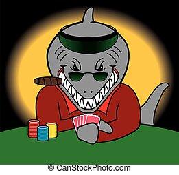 Card Shark - Grinning card shark is playing poker