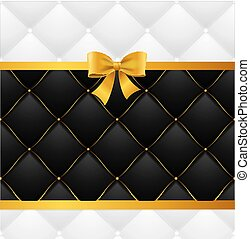 Card Silk Ribbon Bow And Quilted Background. Vector - Card...