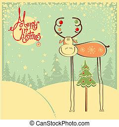 card, sne, jul, ramme, vinhøst, tyr, morsom