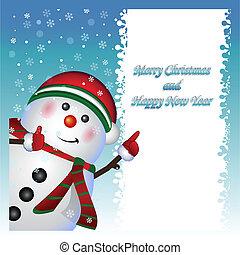 Card, Snowman wearing