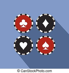 Card suit casino chips flat icon