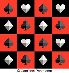 Card Suit Chess Board Red and Black Pattern Vector...