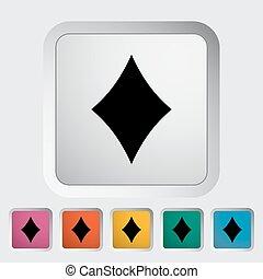 Card suit - Diamonds suit. Single flat icon on the button....
