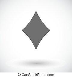 Card suit - Diamonds suit. Single flat icon on white...