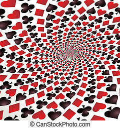 Card suit. Hearts, diamonds, spades and clubs. Playing cards...