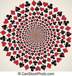 Card suit. Hearts, diamonds, spades and clubs. Playing cards. Op art. Vector illustration