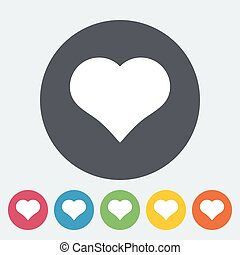 Card suit - Suit of heart. Single flat icon on the circle...
