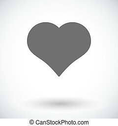 Card suit - Suit of heart. Single flat icon on white...