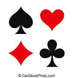 Four Card game symbols on white background