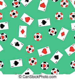 Card suit - Vector seamless pattern of playing card and...