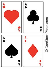 Card suit - Vector set of playing card suits isolated on...