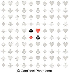 Card Suit White Line Pattern Seamless Background
