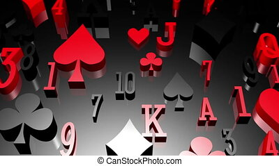 Card suits and numbers classy gambling looping background -...