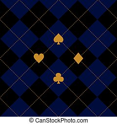 Card Suits Black Royal Blue Diamond Background