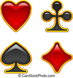 Card suits buttons, set - Set of card suits, glass buttons ...