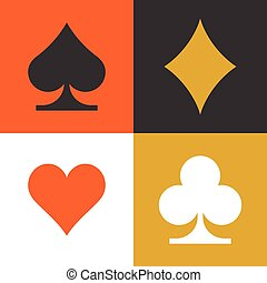 card suits, flat icon