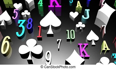 Card suits gambling animated background loop slow in slow...
