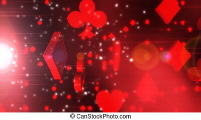 Card Suits in Red Two Looping Animated Background
