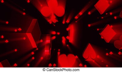 Card suits on black with light rays looping gambling animated background
