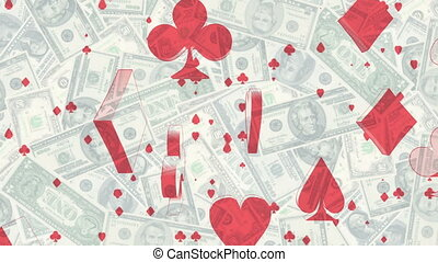 Card Suits Over Money Looping gambling background