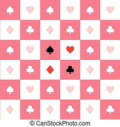 Card Suits Pink White Chess Board Background