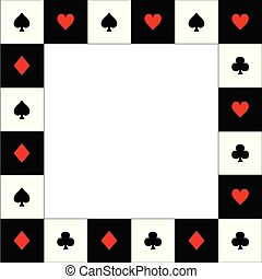 Card Suits Red Black White Chess Board Border.
