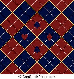 Card Suits Red Royal Blue Diamond Background
