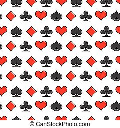 Card suits simple line style seamless pattern. Vector background