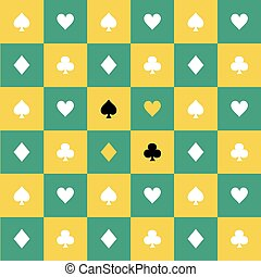 Card Suits Yellow Green Chess Board Background