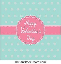 card., szczęśliwy, ribbon., etykieta, valentines dzień, różowy