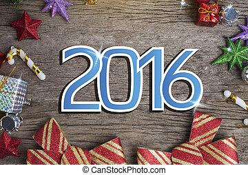 card., tło, powitanie, chrismas, rok, nowy, 2016, szczęśliwy