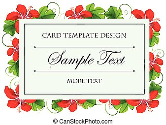 Card template design with red flowers
