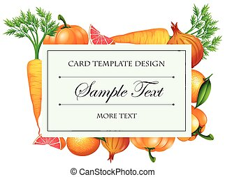 Card template design with vegetables