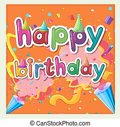 Card template for birthday with ribbons background