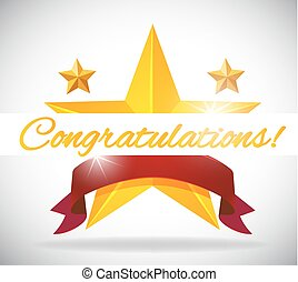 Card template for congratulation with stars background