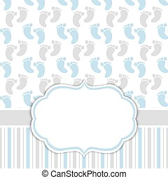 Card Template with Baby Boy  Footprints. Baby Boy Shower Vector Illustration.