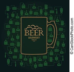 Card template with beer brewery element. Vector