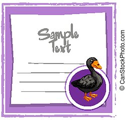 Card template with black duck