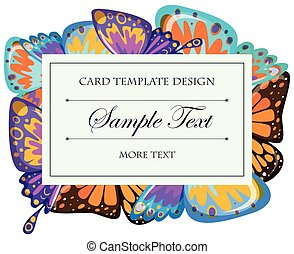 Card template with butterfly wings