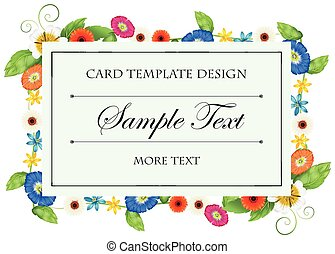 Card template with colorful flowers frame