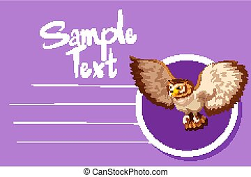 Card template with cute owl