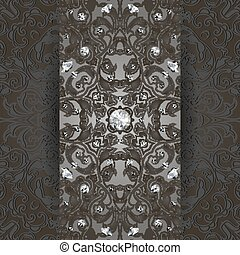 Card template with diamonds and abstract ornament