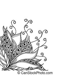 Card template with fantasy flower. Black and white tattoo pattern.